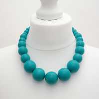 Turquoise Chunky Wooden Bead Necklace