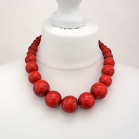 Red Chunky Wooden Bead Necklace