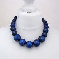 Navy Blue Chunky Wooden Bead Necklace