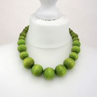 Green Chunky Wooden Bead Necklace