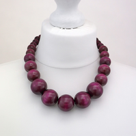 Purple Chunky Wooden Bead Necklace