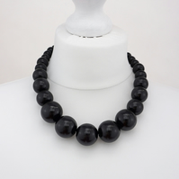 Black Chunky Wooden Bead Necklace