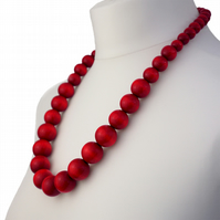 Long Red Chunky Wooden Bead Necklace