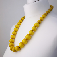 Long Yellow Chunky Wooden Bead Necklace