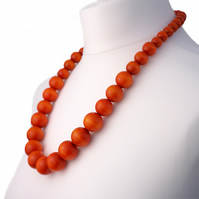 Long Orange Chunky Wooden Bead Necklace