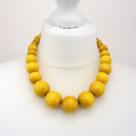Yellow Chunky Wooden Bead Necklace