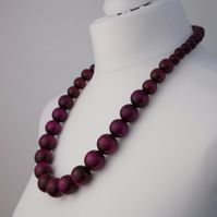 Long Purple Chunky Wooden Bead Necklace