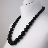 Long Black Chunky Wooden Bead Necklace