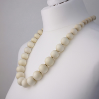 Long Ivory Chunky Wooden Bead Necklace