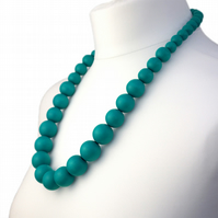 Long Turquoise Chunky Wooden Bead Necklace