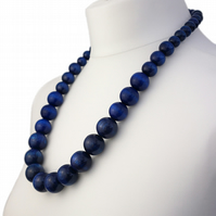 Long Navy Blue Chunky Wooden Bead Necklace