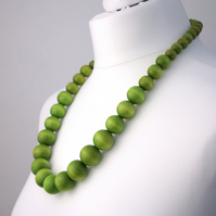 Long Green Chunky Wooden Bead Necklace