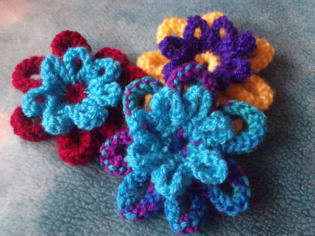 PATTERN - Knitted Flower Pattern: easy knitting pattern, decoration or  brooch