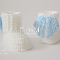 Crochet baby booties, baby shoes, gift, shoes with wings, Christening, Baptism
