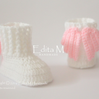 Baby booties, baby shoes, angel wings, gift for baby, Christening, Baptism