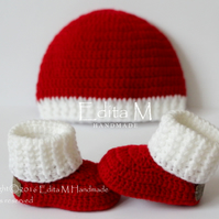 Unisex baby set, baby booties and hat, Christmas baby set, 0-3 months