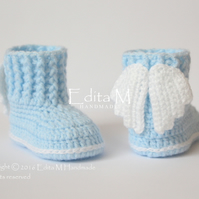 Baby booties, shoes, angel, wings, 0-3 months, free shipping, blue