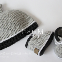 Baby set, baby shoes, hat, beanie, sneakers, 0-3 months, gift for baby