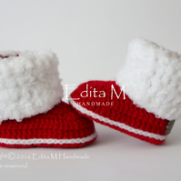 Unisex baby booties, baby shoes, gift idea, fur booties, winter boots, Christmas