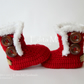 Crochet baby booties, baby shoes, Christmas, Santa boots, gift for baby