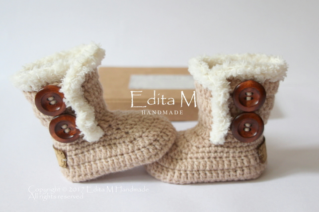 Crochet baby booties, baby shoes,boots, gift for baby