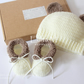 Unisex baby set, crochet baby booties, shoes,hat, gift for baby, 0-3 months