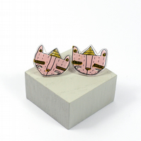 'Party Bear' in Pink Illustrated Ear studs