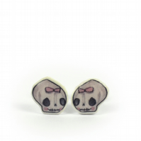 Tiny 'girl skull' Illustrated earrings