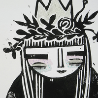 'Floral Queen'- Lino Cut with hand embelishment