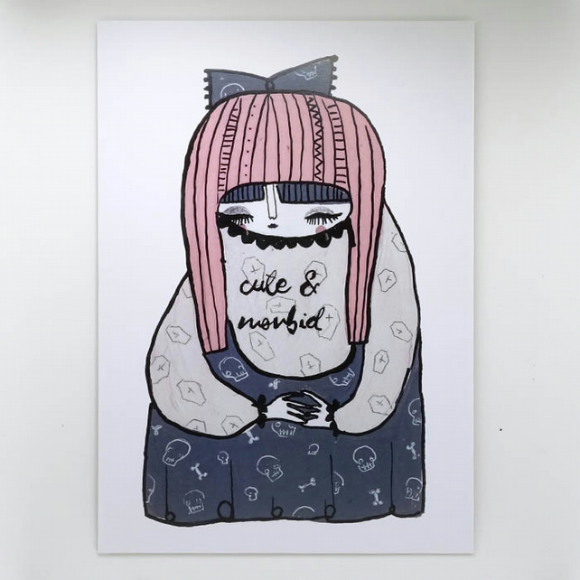 'Cute and Morbid' Artwork Poster Print