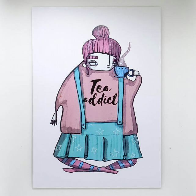 'Tea Addict' Small Poster Print