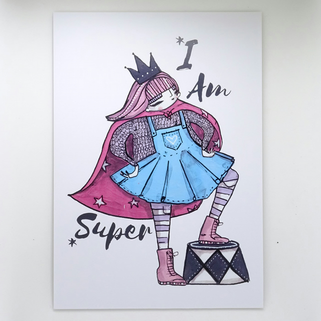 'I am Super' Small Poster Print