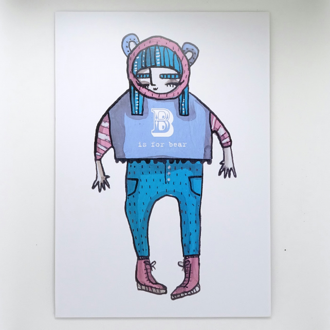 'B is for bear' Small Poster Print