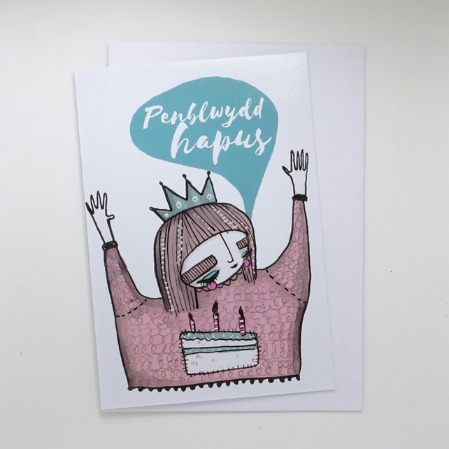 Penblwydd Hapus- Single Illustrated Card