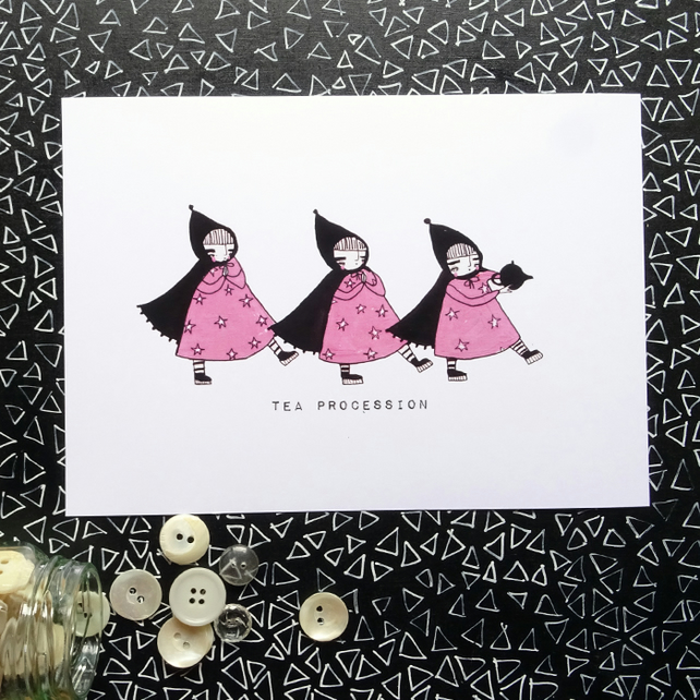 'Tea Procession' Small Poster Print