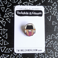 Dinky Printed Wood Brooch- Magic Welsh Lady