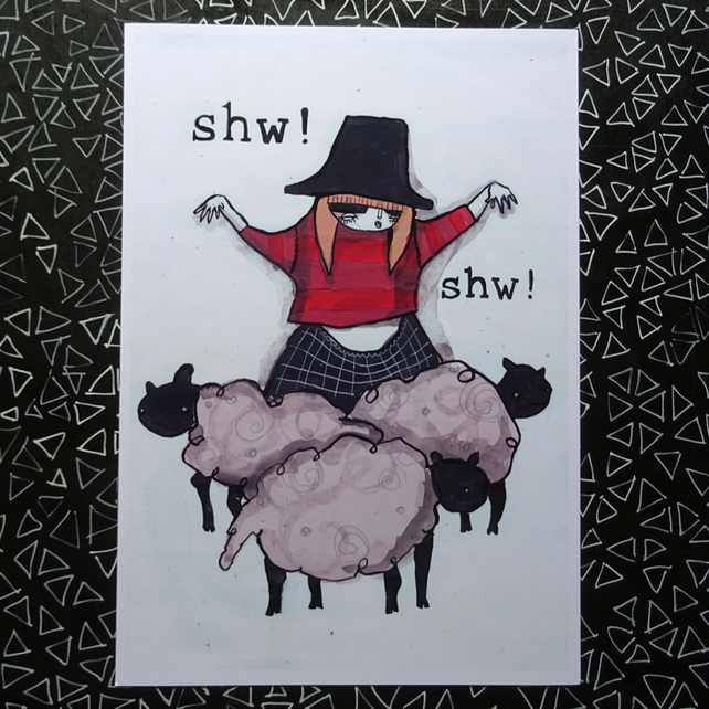 'Shw' Welsh lady Large Poster Print