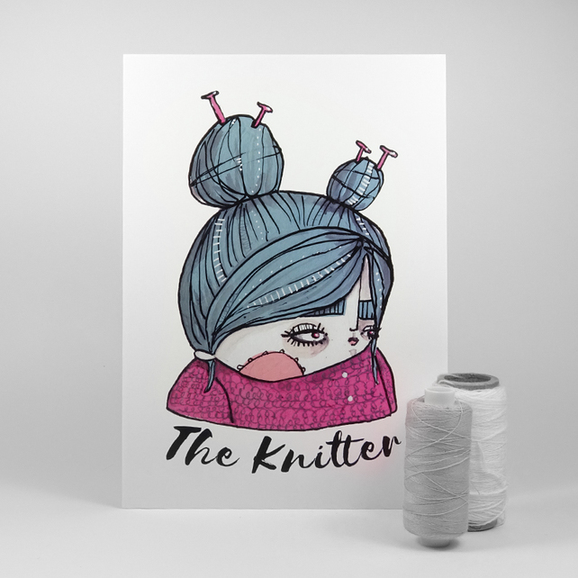 'The Knitter' Artwork Poster Print
