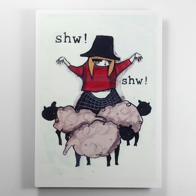 'Shw' Welsh lady Small Poster Print