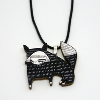 'Fox girl' Wood necklace.