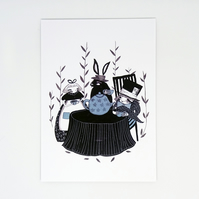 'The Mad Hatters Tea Party'- Small poster print