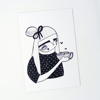 Tea drinking girl- Small Poster Print