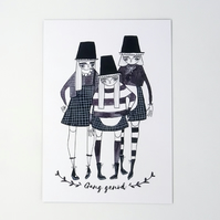 'Gang genod' Large Welsh Lady Print