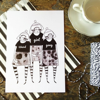 'Weird Girls Gang' Small Poster Print