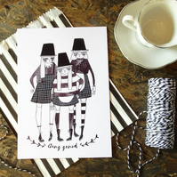 'Gang genod' Small Welsh Lady Print