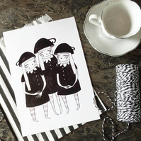 Tea cup girls- Small Poster Print