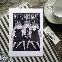 Weird Girl Gang- Small Poster Print