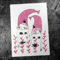 Tea Merms- Large Poster Print