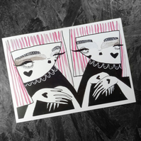 Two pink haired girls- Small Poster Print
