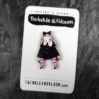 Pink haired Goth girl Illustrated Wood Pin- with rubber back.